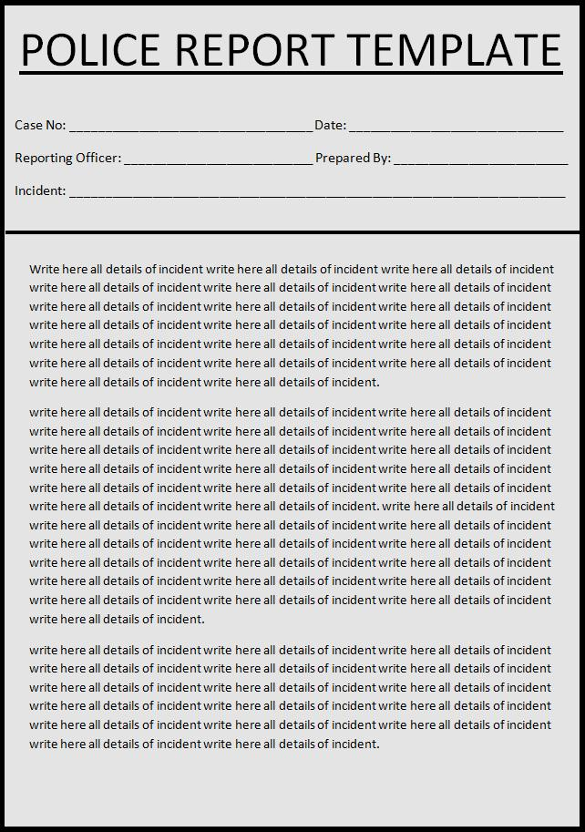 sample police report template - crime report template