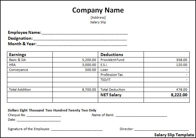 Payslip Template Doc – Example Payslip
