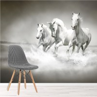 Horse Wall Mural Black and White Wallpaper Living Room ...