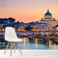 Rome Skyline Wall Mural Italian Sunset Wallpaper Bedroom ...
