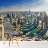 Dubai Cityscape Wall Mural City Skyline Wallpaper Office ...