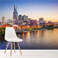 Nashville Sunset Wall Mural City Skyline Wallpaper Bedroom ...