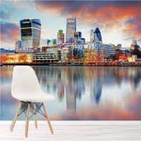 London Sunset Wall Mural City Skyline Wallpaper Bedroom ...