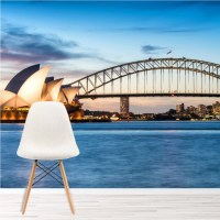 Sydney Sunset Wall Mural Blue City Skyline Wallpaper ...