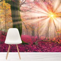 Enchanted Forest Wall Mural Pink Trees Wallpaper Girls ...