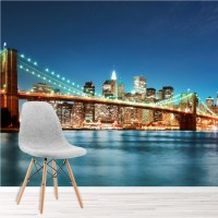 New York S Brooklyn Bridge And City Skyline Wall Mural ...