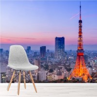 Japan City Skyline Wall Mural Tokyo Tower Wallpaper ...