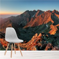 Red Rocky Mountains Wall Mural Sunset Landscape Wallpaper ...