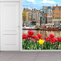 Red Flowers Wall Mural Amsterdam City Wallpaper Bedroom ...