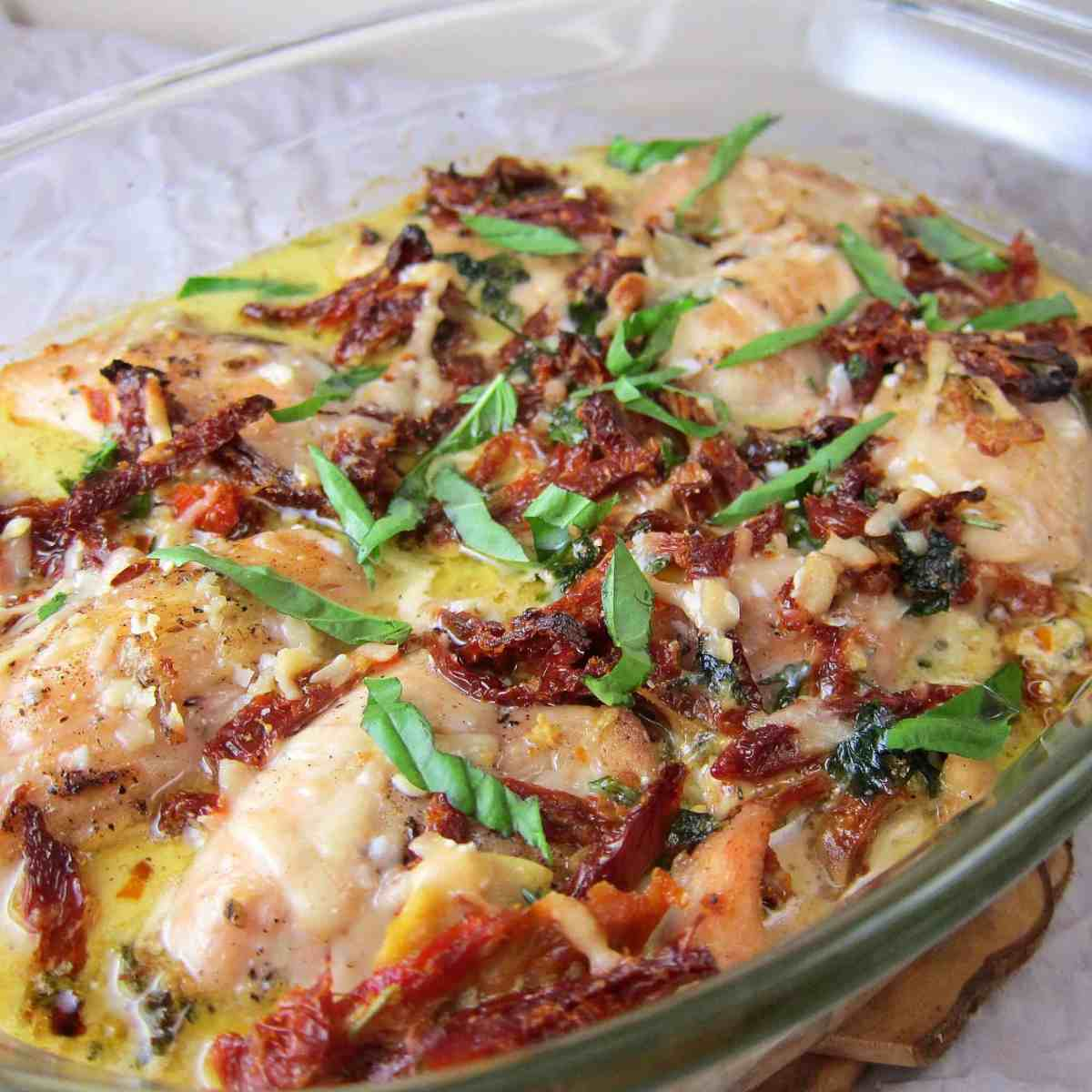 Chicken with Sun-dried Tomato Herb Cream Sauce