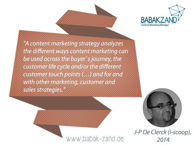Zitat J-P de Clerck zu Content-Marketing-Strategie (2014)