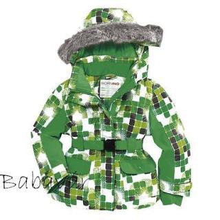 Bornino zöld kocka mintás, szőrmés Kapucnis téli kabát