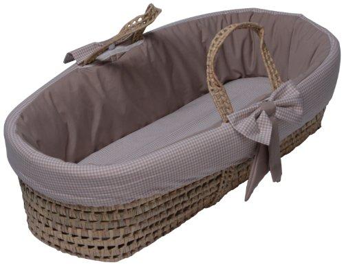 Baby Doll Bedding Gingham Moses Basket Khaki Babiesme