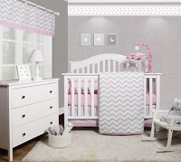 GEENNY OptimaBaby Pink Grey Chevron 6 Piece Baby Girl