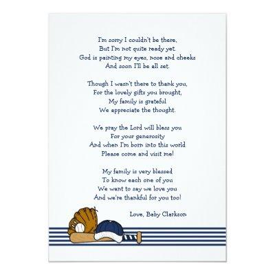 Baseball Baby Shower Thank you note with poem Card Baby Shower