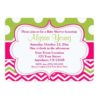 Pink And Lime Green Baby Shower Invitations Baby Shower Invitations