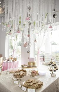 Royal Pink and Gold Baby Shower ceiling decoration ideas ...