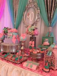 Teal And Pink Modern Chic Baby Shower
