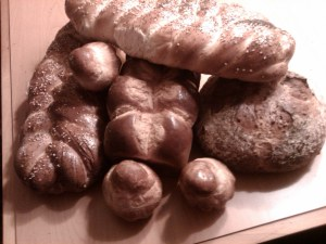 An assortment of breads I enjoy making. From L to R Challah (2 loaves), Brioche Loaf, German Sunflower Seed Bread, Brioche Rolls (3)