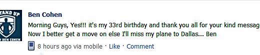 Ben Cohen Birthday