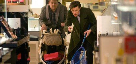 Doctor Who: James Corden and Matt Smith. Photograph: Adrian Rogers/BBC