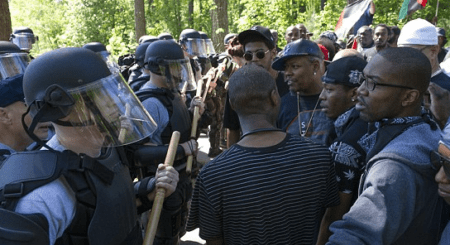 Police Arrest 9 Protestors At Georgia Stone Mountain Confederate Memorial Day KKK Rally.