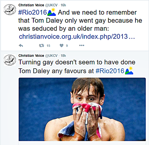 "Brit ""Christian"" LGBT Hate Group Says Tom Daley's Olympic Dream Ended Because He ""Turned Gay"""