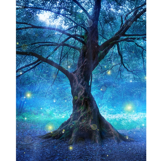 3d Red And Blue Wallpaper Enchanted Tree Printed Backdrop Backdrop Express