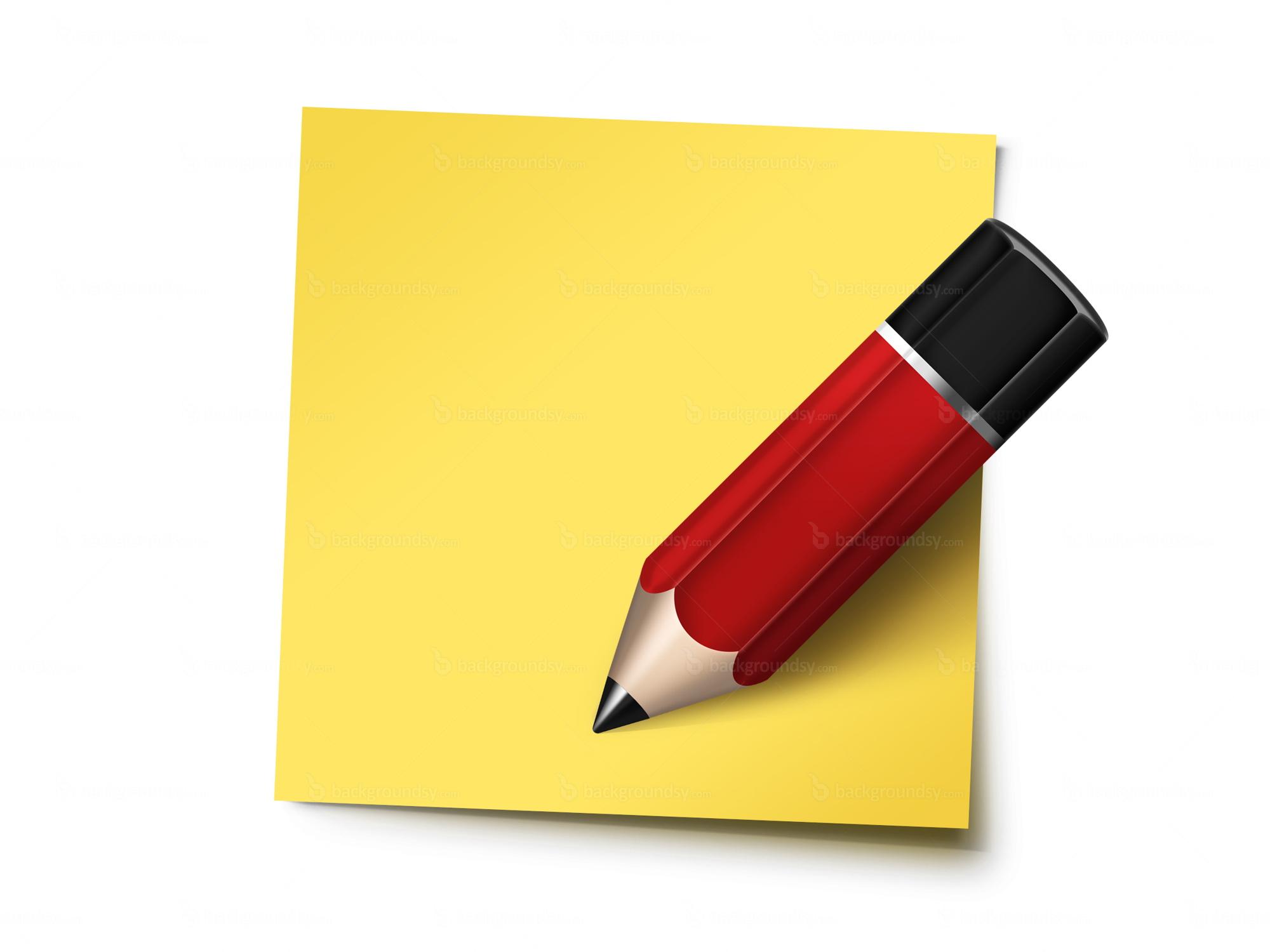 Sticky Note And Pencil Psd Backgroundsycom