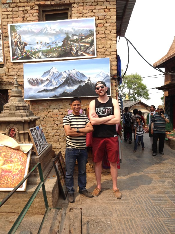 Me and Shiva. Local painter who sold me a gorgeous painting of Mount Everest.