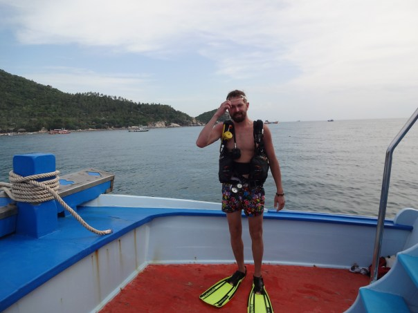 Deep moment of thought after the first dive (Koh Tao, 2016).