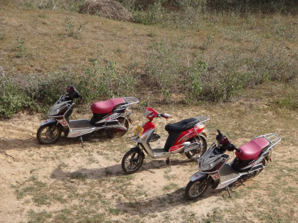 Our electric motorbikes lined up (Myanmar, 2016).