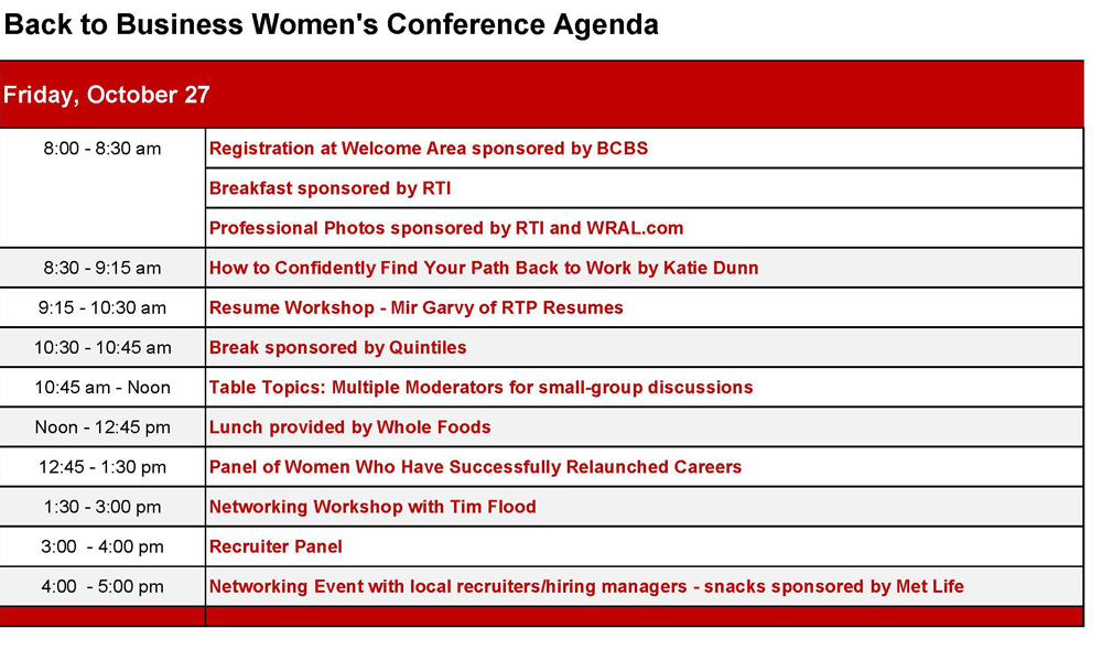 Conference Agenda - Back to Business - conference agenda