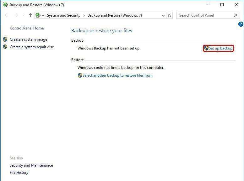 Set Up Automatic Backup Windows 10 to External Hard Drive