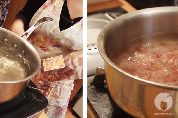 Boiling the miso broth