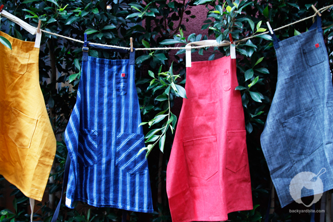 Super cute aprons by Hedley and Bennett - selvage edge denim!