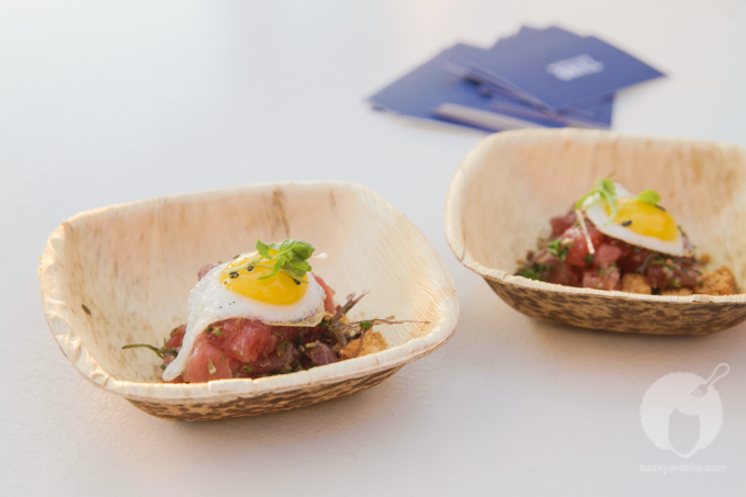 Delicious Poke with ogo and quail egg by Chef Floyd Cardoz from New York