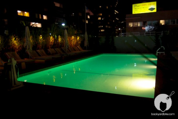 The pool outside, on the roof deck of the Line Hotel
