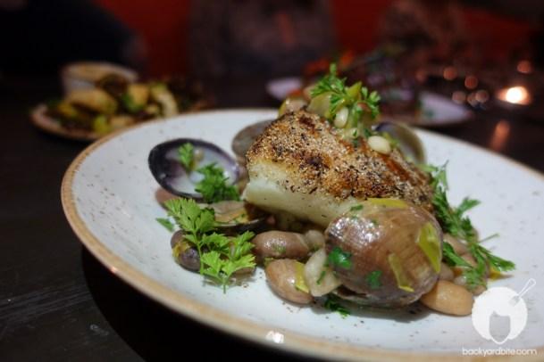 Ling cod, borlotto beans, leeks, fennel, manila clams