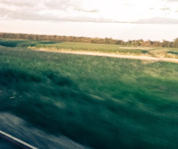 blurry train window