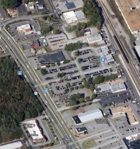 Google Maps view of the Staples Mill station.