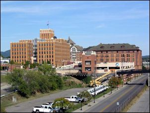 The old Norfolk & Western Railway headquarters complex, with Hotel Roanoke in the background.