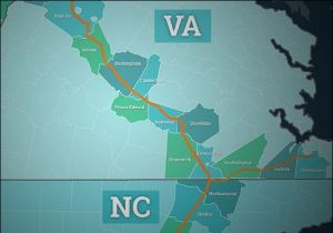 Proposed route of Atlantic Coast Pipeline.