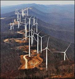 Mountaintop wind farm in West Virginia.
