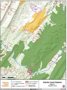 This Dominion map submitted to the VOF shows the location of conservation easements in the Augusta-Bath-Highland area (parcels outlined in red), and the location of the Hayfield Farm where Dominion would create an easement and turn over to the VOF. (Click for larger image.)