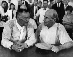 Clarence Darrow and William Jennings Bryan during the Scopes trial