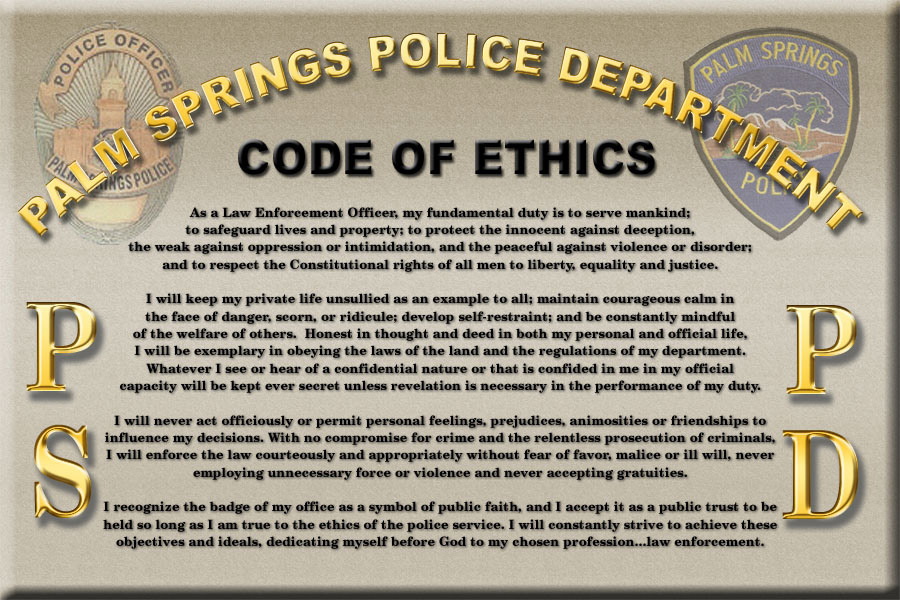 Law enforcement ethics and professional code of conduct Essay - code of conduct example