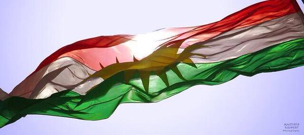 Kurdistan Flag flying high in Kurdish Kurdistan