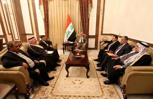 PM Al-Abadi meets a delegation from Anbar including Sheikh Ahmed Abu Risha and members of the provincial council