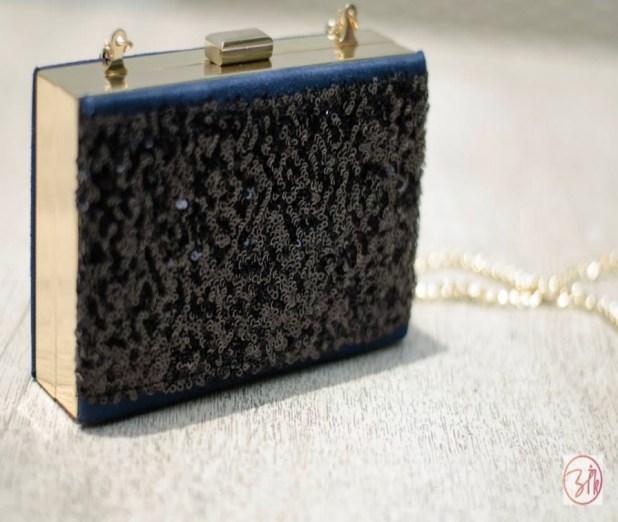 Ank Black Blue Party Clutch